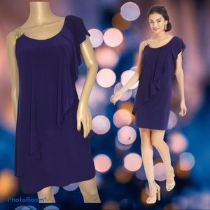 Blue One shoulder Jeweled ruffle Sheath Dress Sz S